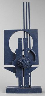Modern Blue Monochrome Steel Sculpture