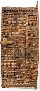 African Dogon Carved Wood Granary Door, Mali