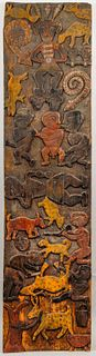 Nigerian Carved Wood Lintel Panel w Animals