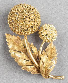 Buccellati Style 18K Gold Floriform Brooch / Pin