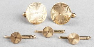 14K Yellow Gold Round Starburst Men's Dress Set 5
