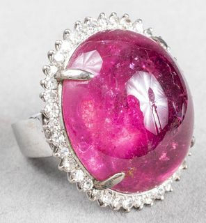 Mid-Century Modern 14K Tourmaline & Diamond Ring