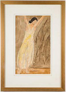 """Abraham Walkowitz """"Dancer"""" Watercolor & Ink"""