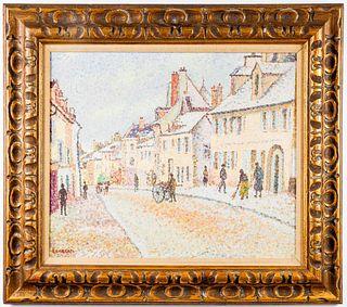 Pointillist Village Oil on Canvas, Signed Lambert