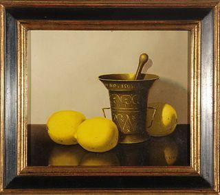 "Nicolaas Bruynesteyn ""Still Life with Lemons"" Oil"