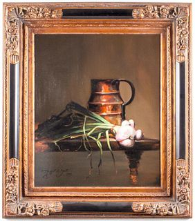 "Margret E. Short ""Copper & Onions"" Still Life Oil"