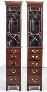 Georgian Style Mahogany Bookcases, Pair