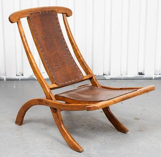 Folding Deck Lounge Chair With Leather Seat