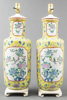 Chinese Famille Jaune Rouleau Vase Lamps, Pair