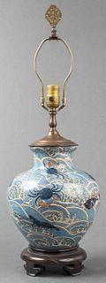 Japanese Fish Decorated Ceramic Vase Table Lamp