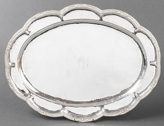 Mexican Hammered Silver Serving Tray