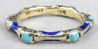 Tiffany & Co. 18K, Turquoise & Blue Enamel Ring