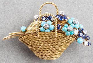 Marchak 18K Diamond, Sapphire & Turquoise Brooch