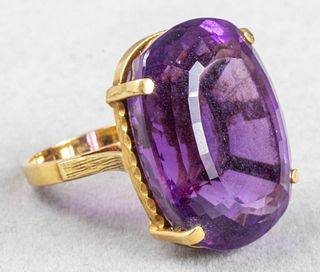 Vintage 18K Yellow Gold Oval Amethyst Ring