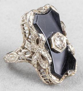 Antique Edwardian 14K White Gold Diamond Onyx Ring