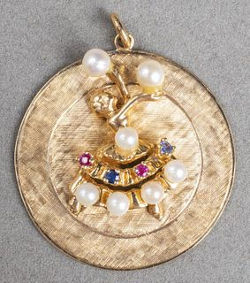 14K Gold Sapphires Rubies & Pearls Dancer Pendant