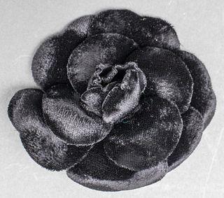 Vintage Chanel Black Velvet Camellia Flower Brooch