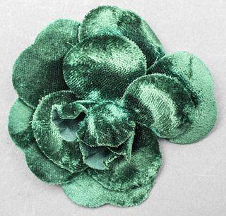 Vintage Chanel Green Velvet Camellia Flower Brooch