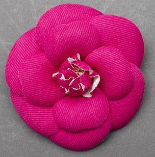 Vintage Chanel Pink Camellia Flower Brooch