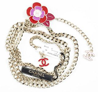 Chanel Silver-Tone Link Belt With Camellias