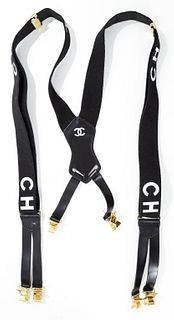 Chanel Black Logo Adjustable Suspenders