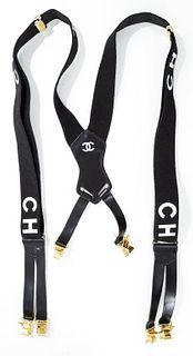 Chanel Black Logo Adjustable Suspenders