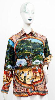 "Hermes Silk ""Sous Le Cedre"" Silk Shirt"