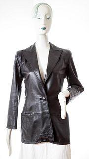 Istante Versace Black Leather Jacket