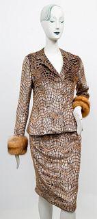 Peggy Jennings Velvet and Fox Fur Skirt Suit