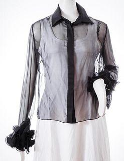Valentino Sheer Black Silk Blouse w. Ruffle Cuffs