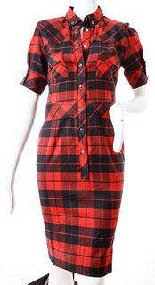 D&G Red And Black Plaid Shirt Dress