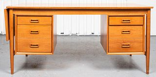 Mid-Century Modern Maple Executive Desk