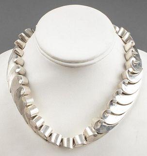 Antonio Pineda Taxco Silver Scroll Necklace
