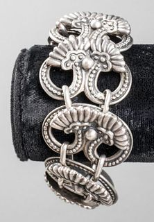 Margot De Taxco Silver Ornate Link Bracelet