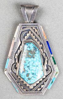 Peter Nelson Navajo Silver Colored Stone Pendant