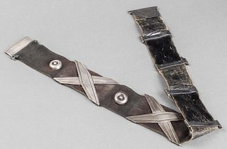 1940's Hector Aquilar Taxco Silver Leather Belt