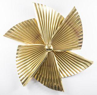 """Curtis Jere """"Propeller"""" Brass Wall Sculpture"""