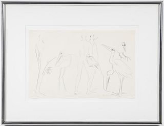 """Mary Frank """"Men and Birds"""" Lithograph, 1985"""