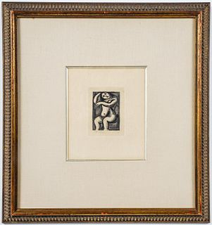 """Georges Rouault """"Nude Combing Hair,"""" Etching 1929"""