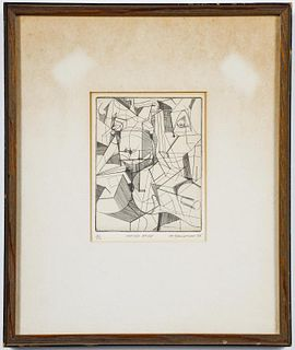 """G. Goldfine """"Seated Nude"""" Etching, 1965"""
