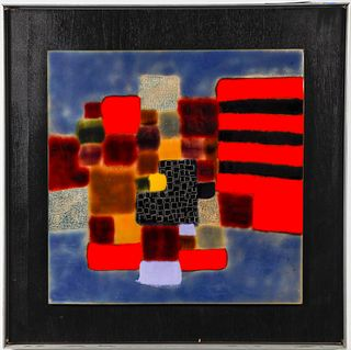 """""""Red Path"""" Modern Enamel on Copper Plaque"""