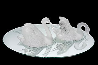 Pr. Lalique Crystal Swans on Mirror Plateau