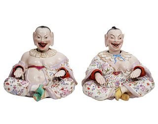 Two Chinese Porcelain Nodder Figures by Samson