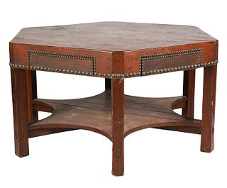 Rare Gustav Stickley Leather Top Gaming Table Circa 1902