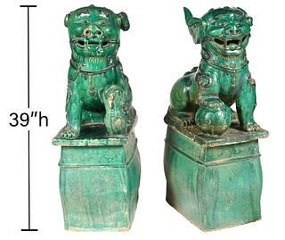 Pr. Large Chinese Green Glazed Terracotta Foo Dogs