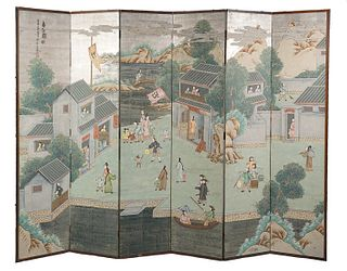 6 Panel Hand Painted Wallpaper Chinese Screen