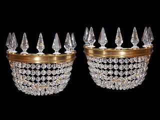 Pr. Baccarat 'Crinoline' Crystal & Gilt Sconces