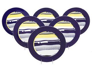 6 Roy Lichtenstein Glazed Rosenthal Plates