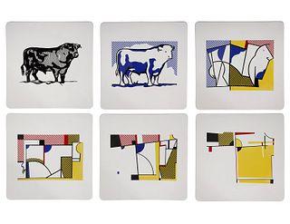 6 Lichtenstein Plates 1989 Bull Profile Series