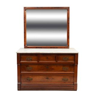 Cómoda. Francia. SXX. Estilo art deco. En madera con chapa de raíz. Cubierta de mármol blanco, 6 cajones y espejo con luna rectangular.
